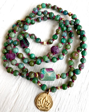 Ruby Zoisite and Raw Ruby Infinity 108 Knotted Mala Bracelet For Happiness, Courage and Romance