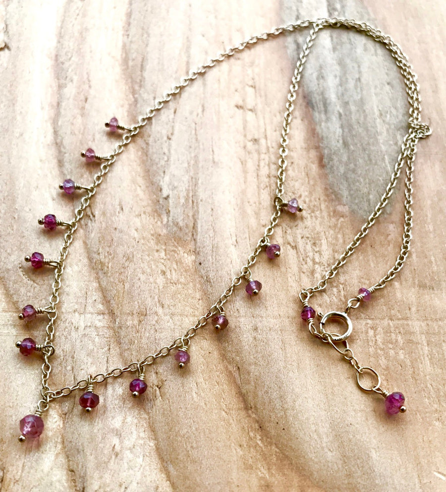 Delicate Minimalist Tourmaline Necklace for Emotional Healing, Peace of Mind and Stress Relief