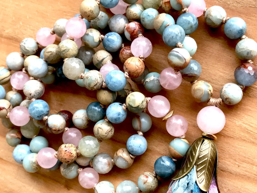 Mixed Gemstone 108 Mala Necklace for Meditation, Emotional Healing and Spiritual Growth