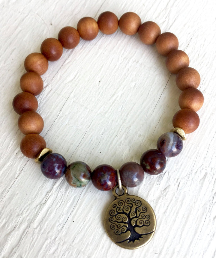 Sandalwood and Red Lightning Agate Stretch Bracelet with Tree of Life Charm For Chakra Healing