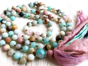 Amazonite and Rose Quartz Long Tassel Mala Necklace for Balance and Unconditional Love
