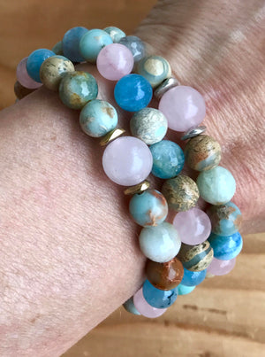 Multi_Gemstone Chakra Mala Bracelet for Compassion, Self-Love and Emotional Healing