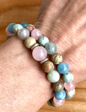 Multi Gemstone Bracelet African Opal Aquamarine Rose Quartz Moonstone Stretch Bracelet Stackable Bracelet Chakra Healing