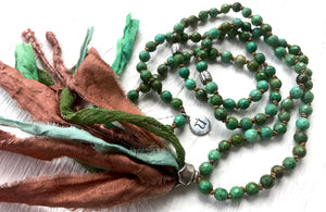 Long Green Turquoise Tassel Necklace with Bali Silver and a Silk Sari Tassel