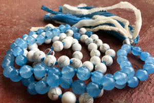 Howlite and Blue Chalcedony Long Silk Sari Tassel Necklace for Joy, Generosity and Optimism