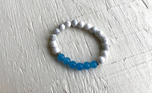 Howlite and Blue Chalcedony Mala Bracelet to Release Negative Energy and find Calmness