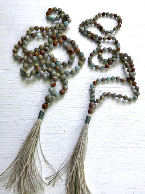 Boho Sandalwood and African Opal Mala Necklace for Mental Health, Spiritual Awareness and Emotional Healing October Birthstone