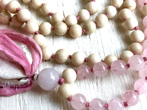 Fertility Rose Quartz and Riverstone Long Tassel Mala Necklace for Romance, Love and Compassion