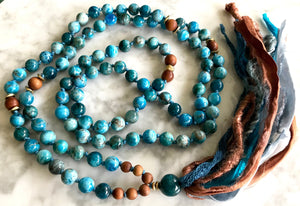 Apatite and Sandalwood Long Tassel Mala Necklace for Knowledge, Wisdom and Intuition