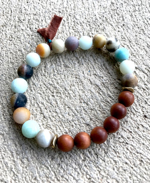 Amazonite and Sandalwood Mala Tassel Bracelet For Emotional Healing and Balance