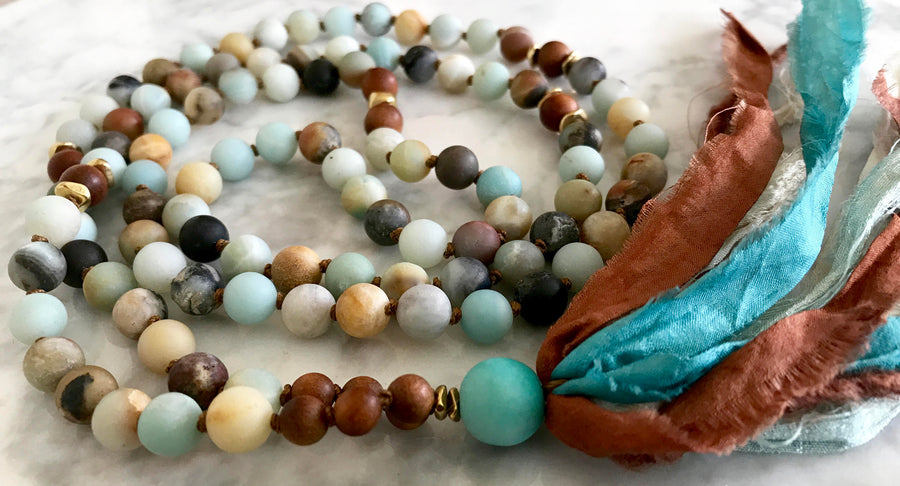 I am Calm Amazonite Mala Beads Sandalwood Mala Necklace Long Tassel Necklace Boho Yoga Jewelry