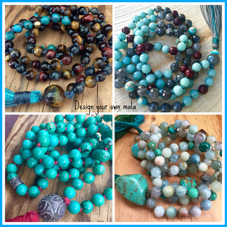 Custom Mala Beads, Custom Mala Necklace, Design your own Mala, Special Order Mala Beads, 108 Mala Beads, Yoga Jewelry, Meditation Beads