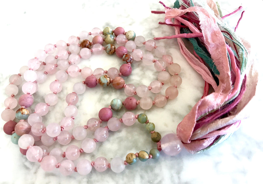 ROSE QUARTZ MALA Necklace 108 Mala Beads Rose Quartz Tassel Necklace Heart Chakra Yoga & Meditation Gift Healing Crystals