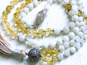 Moon Goddess Mala Beads Moonstone Necklace Citrine Rutilated Quartz Tassel Necklace Third Chakra Mala 8 Auspicious Symbols