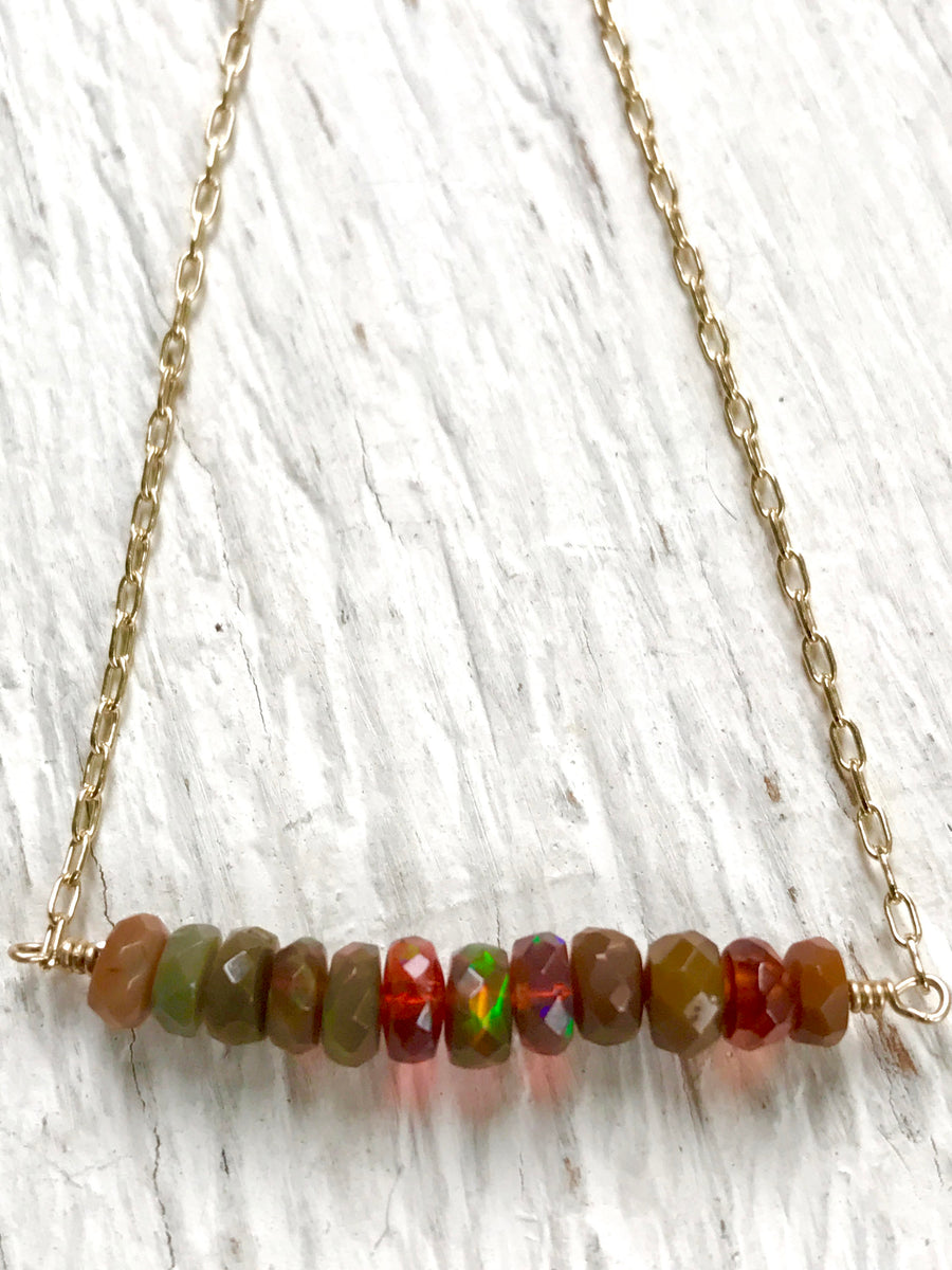 OPAL BAR NECKLACE Boulder Opal  Welo Opal Wedding Jewelry Genuine Opals October Birthstone Gift for Her - Minimalist Necklace