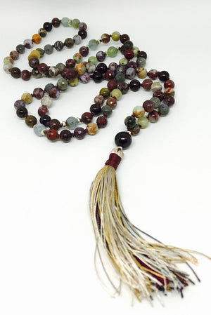 Multi-Gemstone Healing Long Tassel Mala for Awareness, Knowledge, Intuition and Creativity