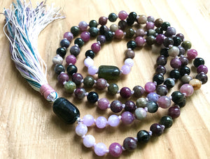 Tourmaline and Kunzite 108 Long Tassel Mala Necklace to support the Heart Chakra