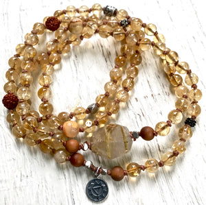 Citrine Necklace, Sandalwood Mala Beaded Bracelet Boho Jewelry Solar Plexus Chakra Healing Jewelry