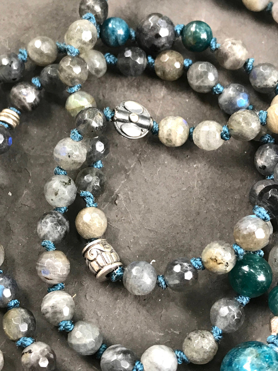 Labradorite and Apatite 108 Knotted Mala Bracelet for Intuition and Clairvoyance