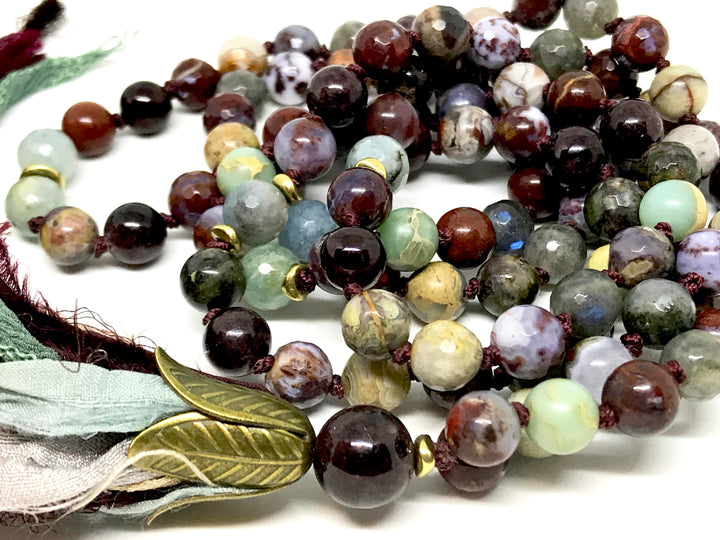 108 Gemstone Root Chakra Mala Beads Red Lightning Agate, Garnet and Aquamarine for Spiritual Awareness and Meditation