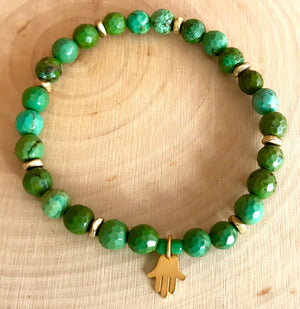 Petite Green Turquoise Stretch Bracelet with Vermeil Evil Eye Charm for Protection and Healing