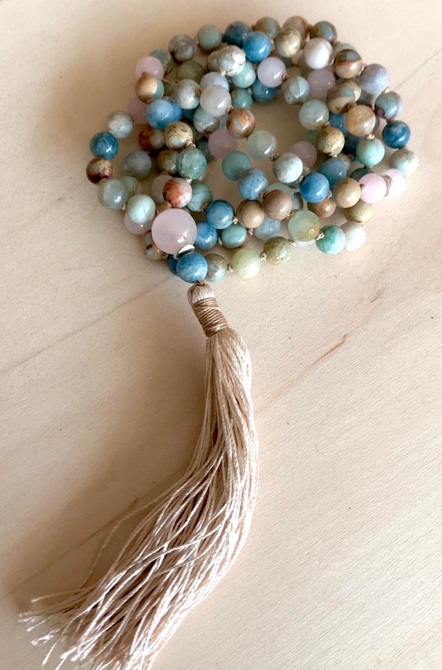 YOGA JEWELRY 108 Mala Beads Meditation Beads Aquamarine Necklace African Opal Rose Quartz Healing Gemstones