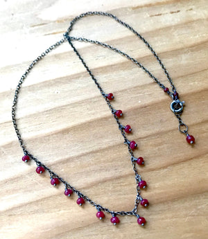 Genuine Ruby Delicate Minimalist Necklace for Emotional Healing, Courage and Romance