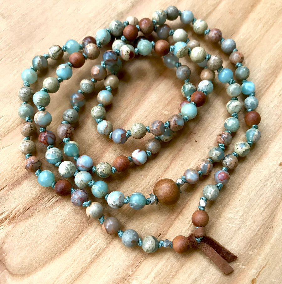 Bohemian 108 African Opal and Sandalwood Mala Knotted Bracelet for Stress Relief and Good Luck