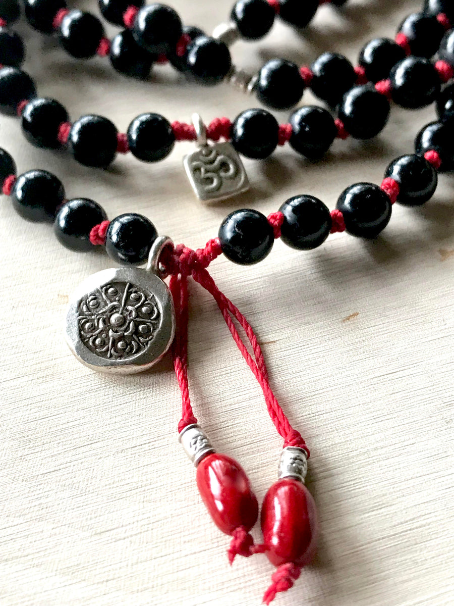 Kabbalah Red String Onyx Knotted Mala Bracelet with Sterling Silver Yoga Charms