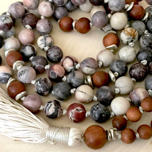 Calming Sandalwood and Porcelain Jasper Mala Necklace for Emotional Healing and Contentment