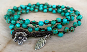 Boho Turquoise Macrame Wrapped Beaded Bracelet Vegan Gift For Her Sundance Style