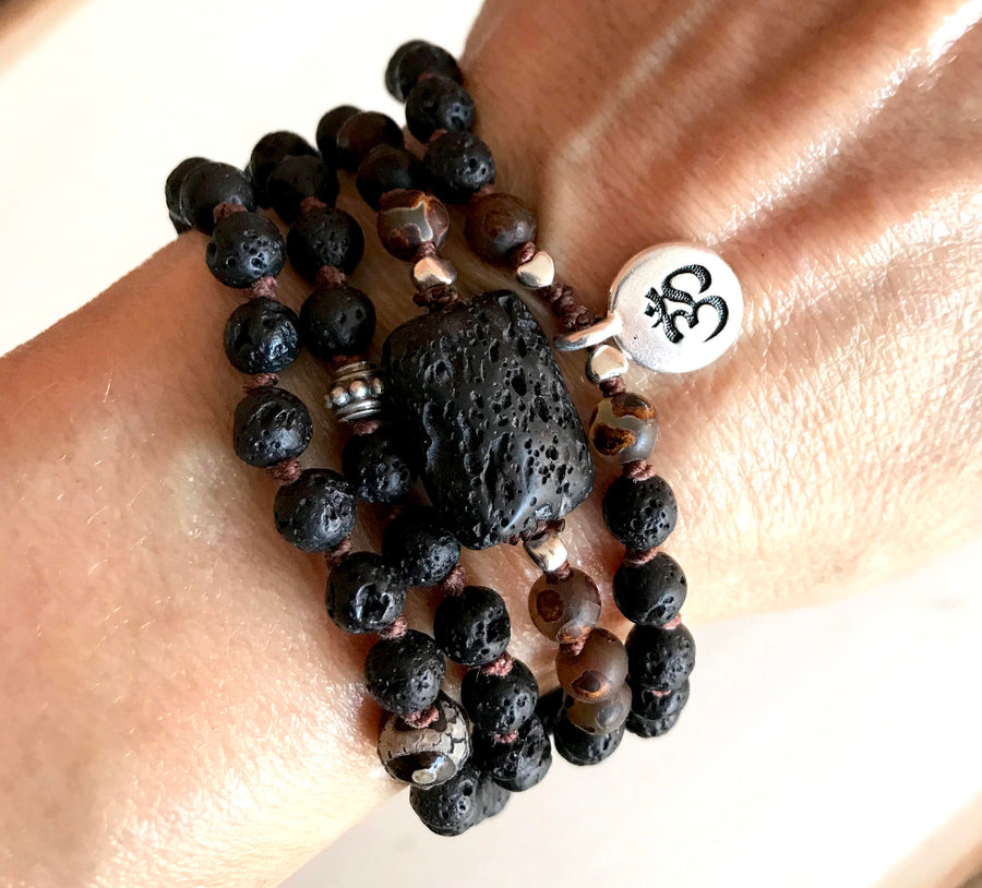 BOHO Black Lava and Dzi Essential Oil Diffuser Knotted Mala Bracelet with your choice of an OM or LOTUS Symbol
