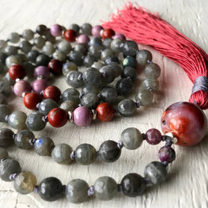 108 Mala Beads, Labradorite, Moroccan Agate and Phosphosiderite for Calmness, Balance and Grounding