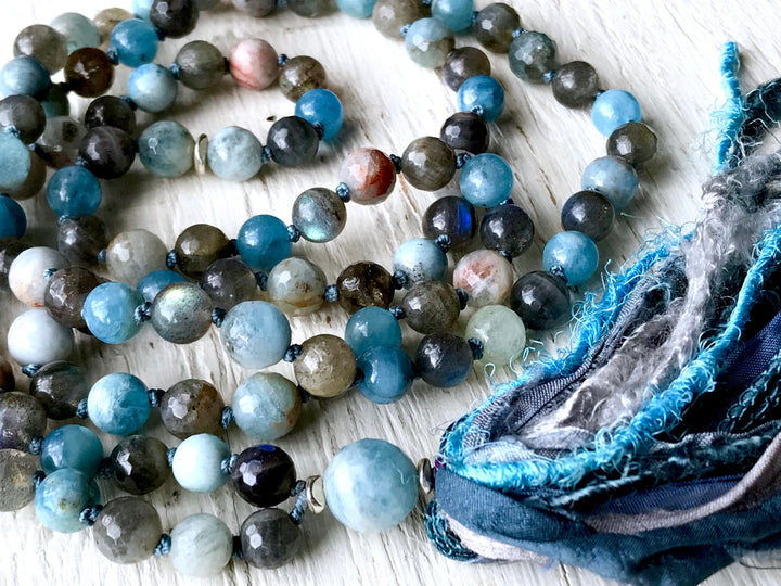 108 Aquamarine and Labradorite Knotted Long Tassel Mala Necklace