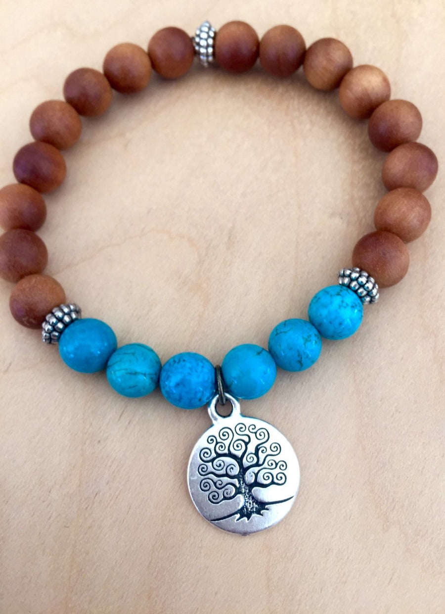 Boho Turquoise and Sandalwood Mala Bracelet with Tree of Life Symbol for Protection and Balance