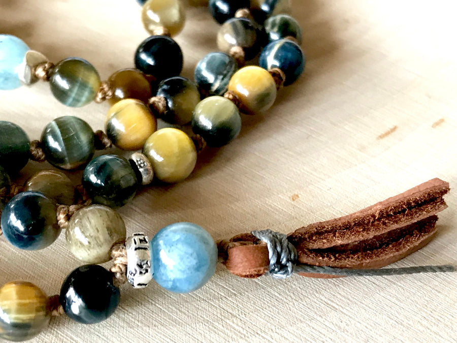 Honey Tiger Eye and Aquamarine 108 Knotted Bracelet to Protect from the Evil Eye