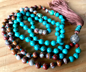 Boho Turquoise & Jasper Mala Necklace with a Tibetan Endless Knot Symbol Guru Bead for Protection