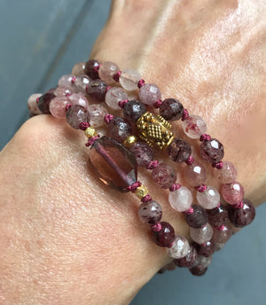 Heart Opening Tourmaline and Cherry Quartz Knotted Infinity Heart Chakra 108 Mala Bracelet