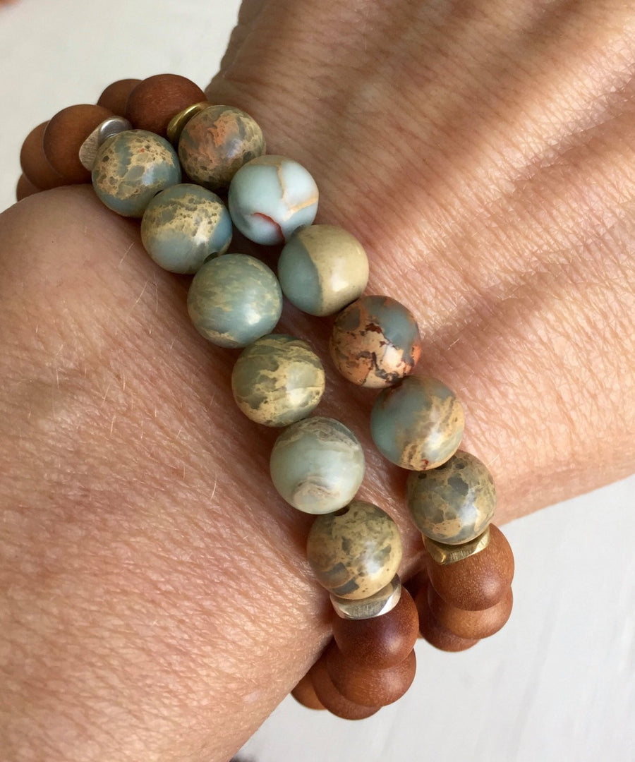 Boho Sandalwood and African Opal Stretch Mala Bracelet for Good Luck and Emotional Healing