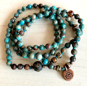 Bohemian Calsilica, Turquoise and DZI Knotted Yoga Bracelet for Creativity, Tranquility  and Prosperity