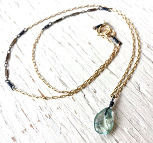 Delicate Aquamarine Mixed Metal Layered Necklace March Birthstone