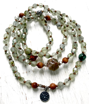 Sandalwood, Prehnite, Rudraksha Sapphire 108 Mala Bracelet for Meditation and Compassion to open the Heart