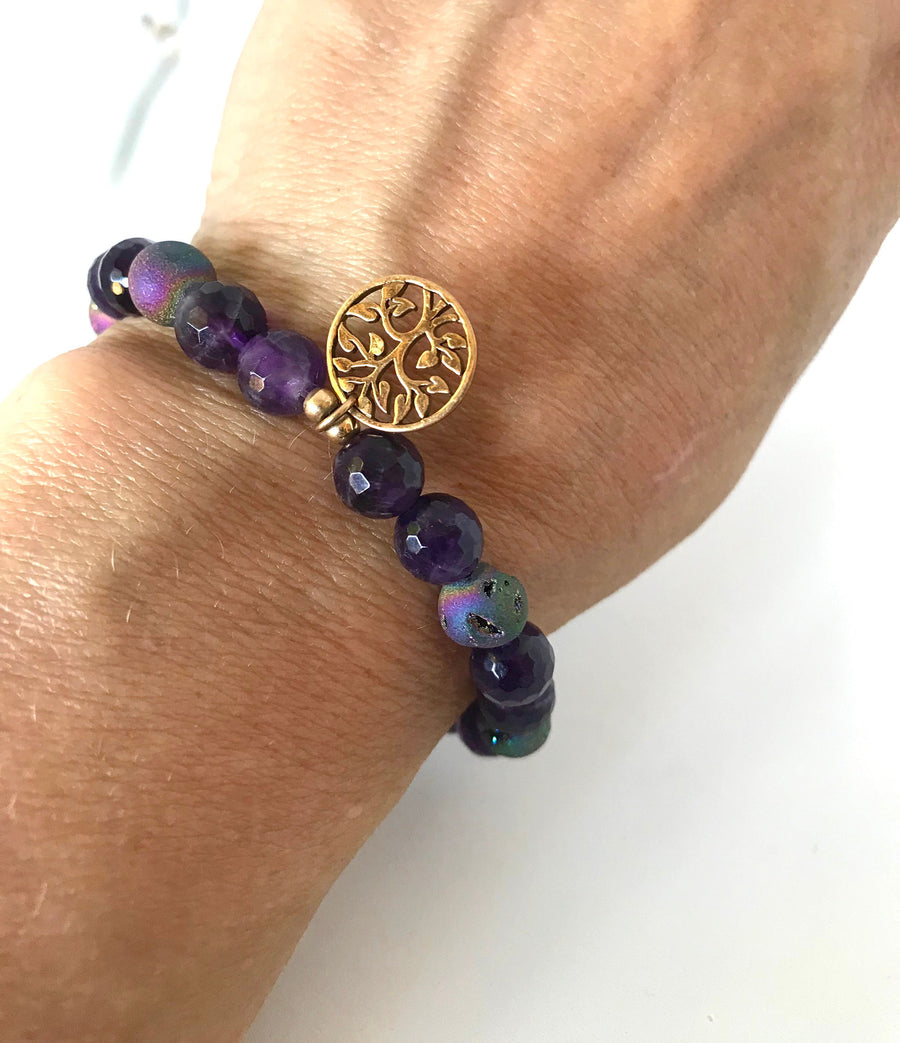 Druzy & Amethyst Stretch Bracelet with Tree of Life Charm For Calmness and Stress Relief