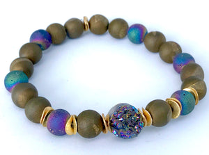Boho Druzy Beaded Stretch Bracelet to Ease Tension and Calm the Nervous System