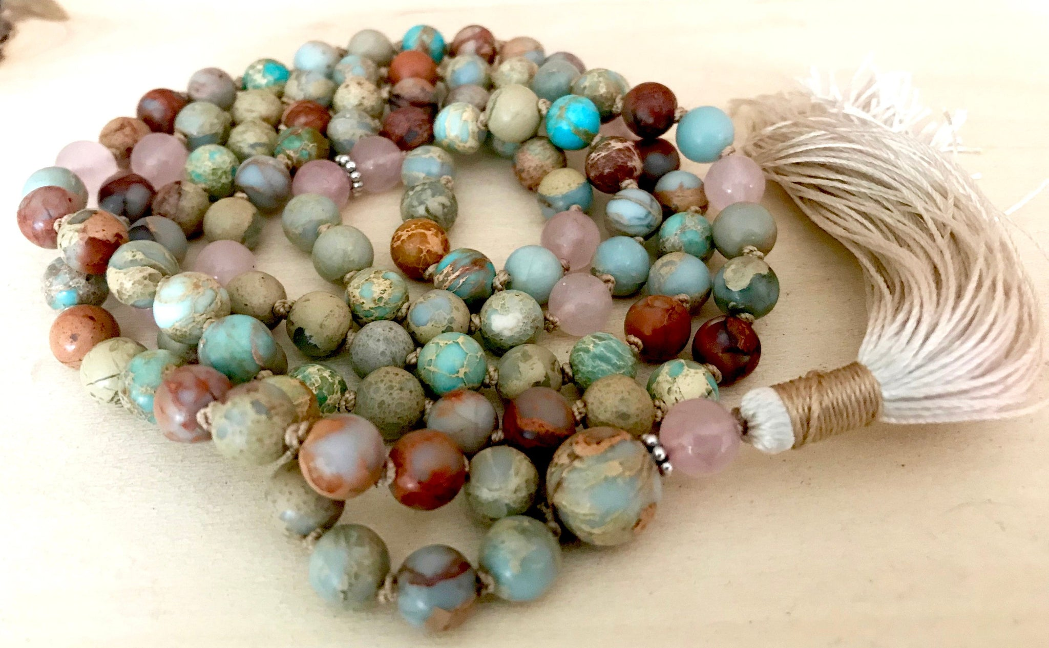 Bohemian African Opal and Rose Quartz Yoga Prayer Beads for