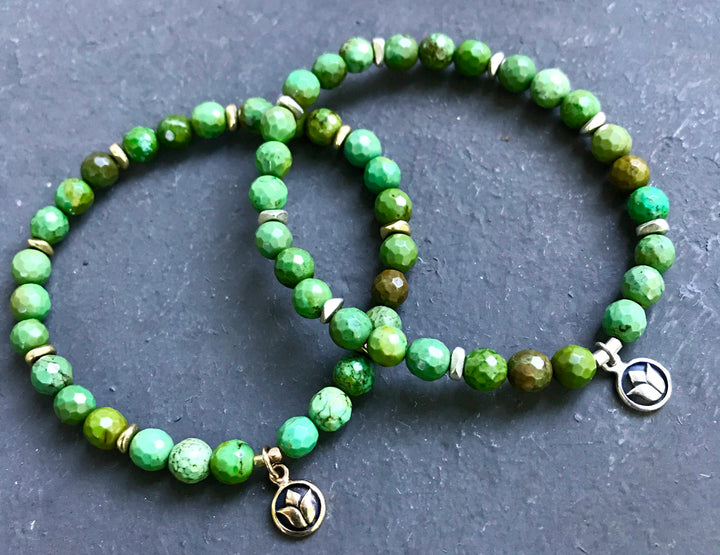 Simply sweet Green Turquoise Mala Bracelet for Protection and Creativity, December Birthstone