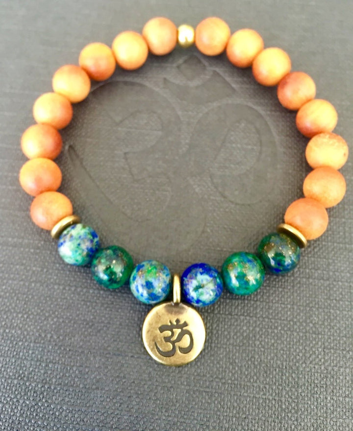 Azurite and Sandalwood Mala Bracelet with Om or Lotus Charm for Meditation and Grounding