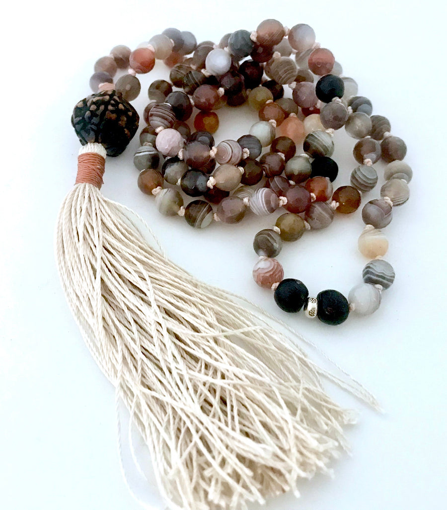 Botswana Agate and Antique Rudraksha Mala Necklace for Emotional Healing, Change and Positivity