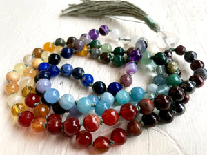 108 Chakra Mala Beads Multi-Gemstone Chakra Mala Necklace Perfect for Yoga or Meditation Gift