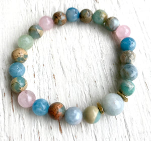 Aquamarine, Rose Quartz and Moonstone Gemstone Stretch Stackable Bracelet